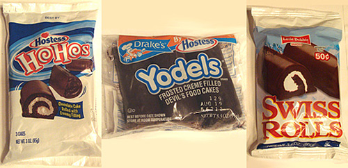 ... this taste test I included three items: HoHos, Yodels and Swiss Rolls